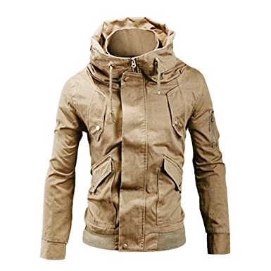 WM & MW Men Jacket Fashion Casual Long Sleeve Pocket Solid Stand Collar Full Zip Button