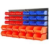 HORUSDY Wall Mounted Storage Bins Parts Rack 30PC Bin Organizer Garage Plastic Shop Tool