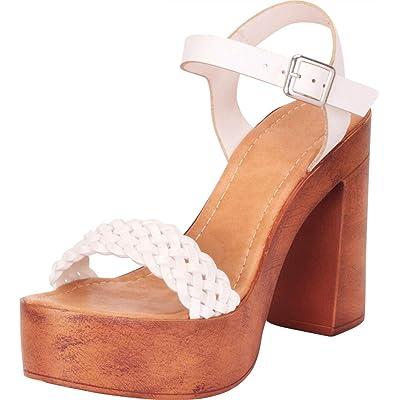 Cambridge Select Women's Retro 70s Woven Chunky Platform Block Heel Sandal | Sandals