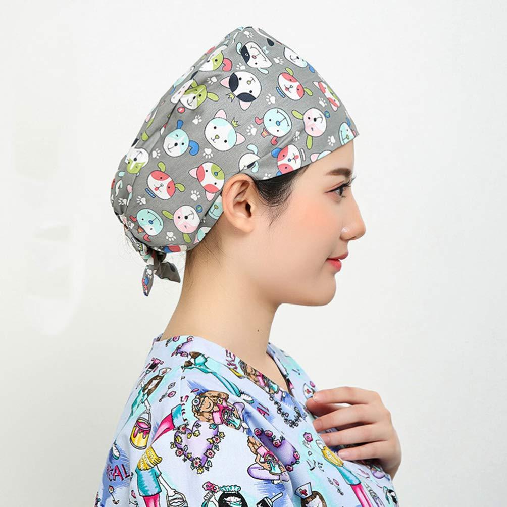 TENDYCOCO Surgical Scrub Cap Flower Adjustable Doctor Nurse Cap Surgery Hat Unisex