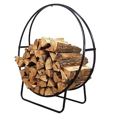 Sunnydaze 24 Inch Firewood Log Hoop Rack, Round Tubular Steel Outdoor Wood Storage Holder, Black