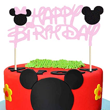 Peachy Mickey And Minnie Cake Topper Glitter Minnie Mouse Cake Topper Funny Birthday Cards Online Necthendildamsfinfo