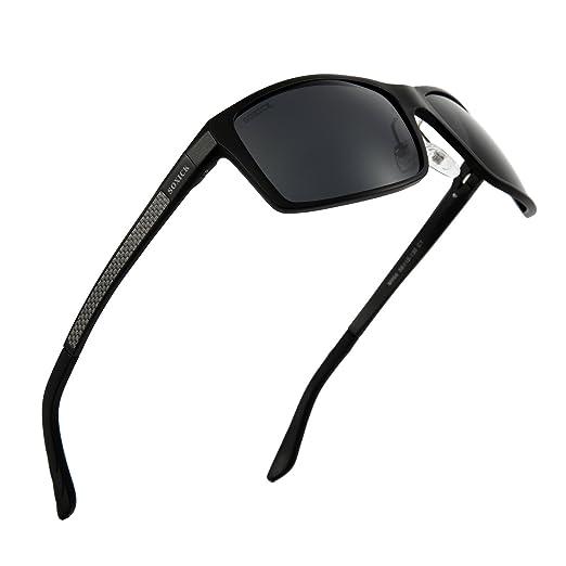 69804eec5b6 Men HD Polarized Sunglasses UV400 Protective Anti-Glare Lenses Driving  Glasses (Black-1