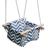 Toddler Baby Hanging Swing Seat Secure Canvas Hammock Chair - Installation Accessories Included (Blue/White Stripes)