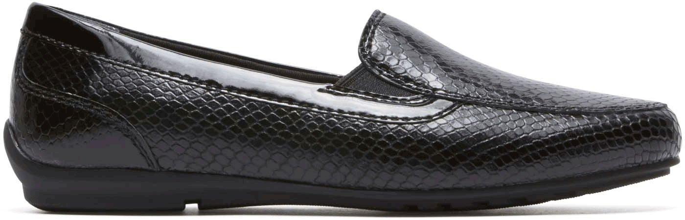 Rockport Women's Tmd Flat Moc Shoes B07743LP1C 6 B(M) US|Black Snake