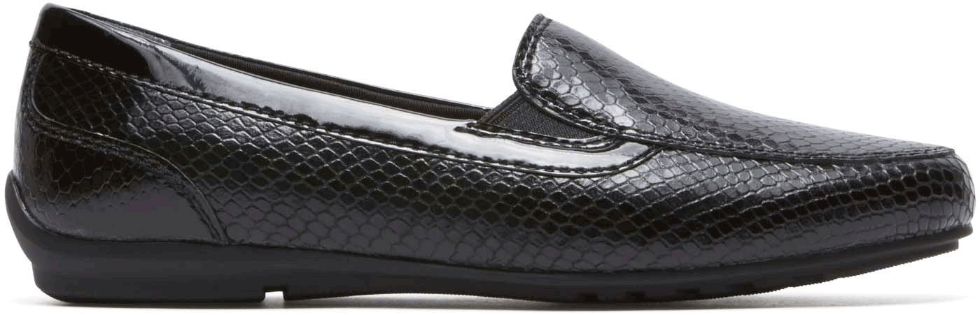 Rockport Women's Tmd Flat Moc Shoes, Size: 6 B(M) US, Color Black Snake