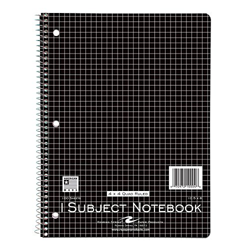 (Roaring Spring Wirebound Notebook, One Subject, 10.5 x 8 Inches, 100 Sheets, 4x4 Graph Ruled, Assorted Color Covers (10004))