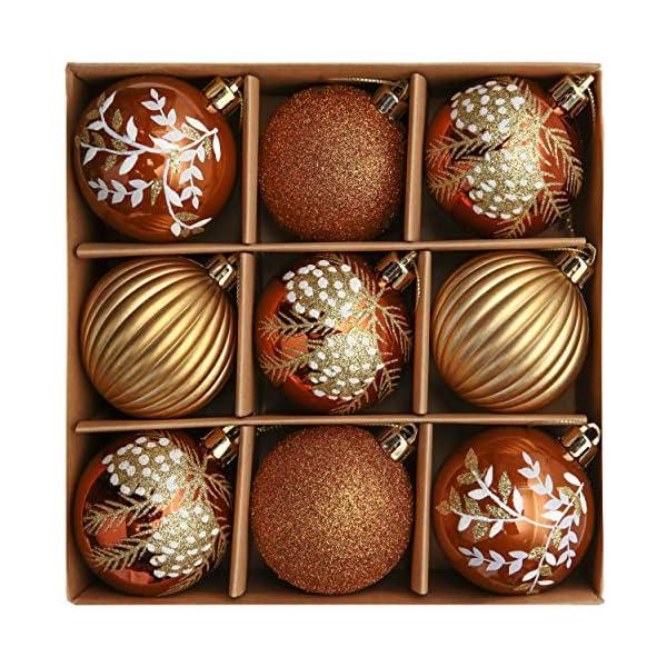 Valery Madelyn Palle di Natale 9 Pezzi 6cm Palline di Natale, Rame da Bosco e Oro Infrangibile Palla di Natale Ornamenti Decorazione per la Decorazione Dell'Albero di Natale 1 spesavip