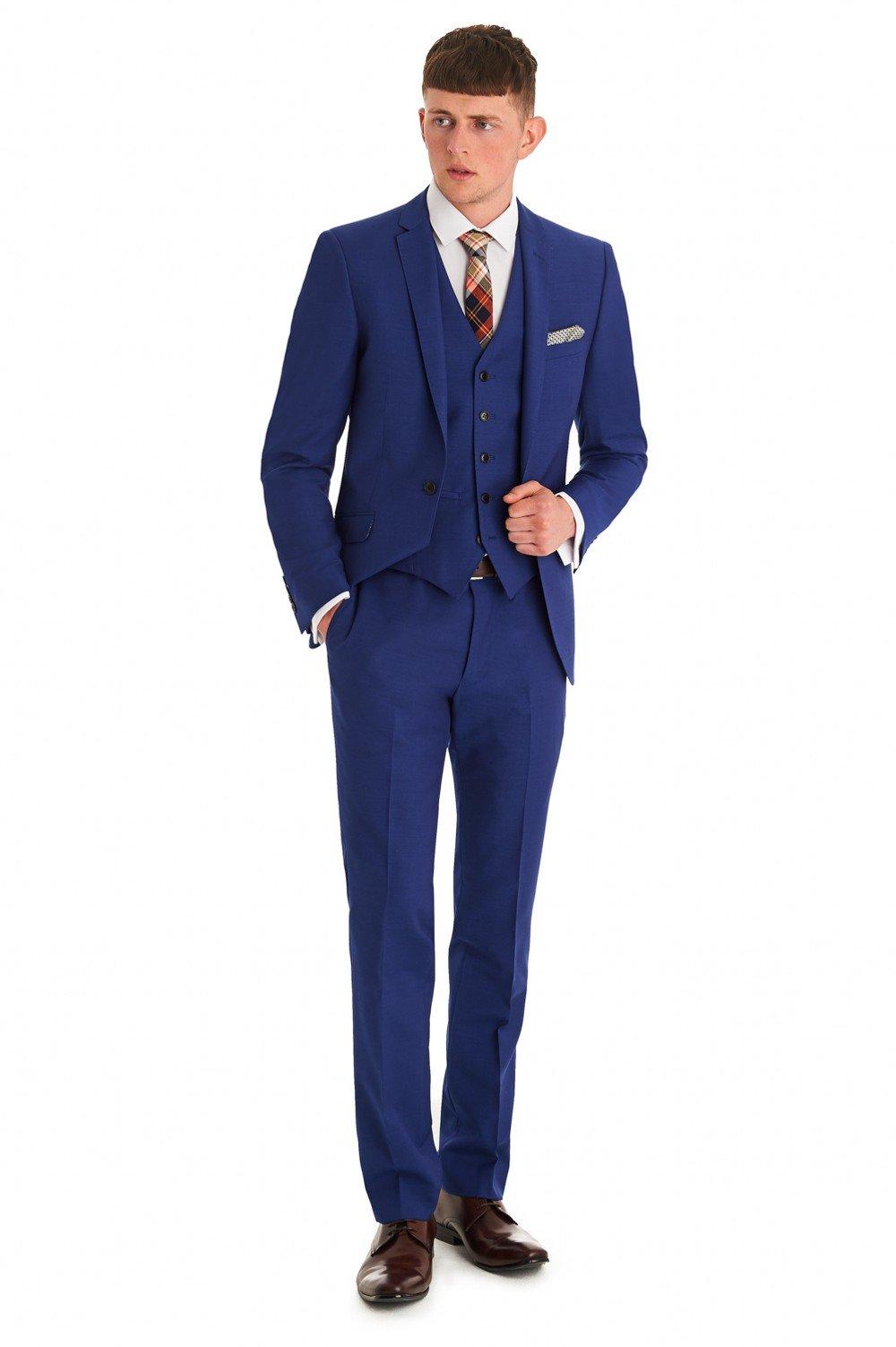 Love Dress Slim Fit Bright Blue 3 Piece Suit Wedding Party Gown 5XL