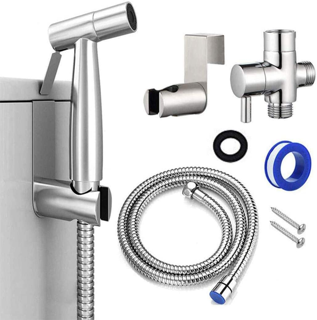 Handheld Bidet Sprayer For Toilet Attachment Hand Held Bidet Shower Set In Bathroom Stainless Steel Muslim Shower And Baby Cloth Diaper Sprayer Kit Complete Shattaf Combo With T Adapter And Bidet Hose