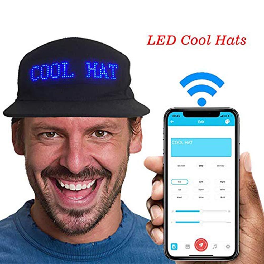 Qjdecoy Chapeau De Soleil pour Casquette De Baseball R/églable en Plusieurs Parties De L/écran LED Unisexe Lumineux sans Fil Bluetooth