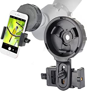 SOLOMARK Cellphone Mount for Vortex Bushnell Celestron Barska Spotting Scope Big Eyepiece Work with Binoculars Monocular Spotting Scope Telescope for Almost Smartphone