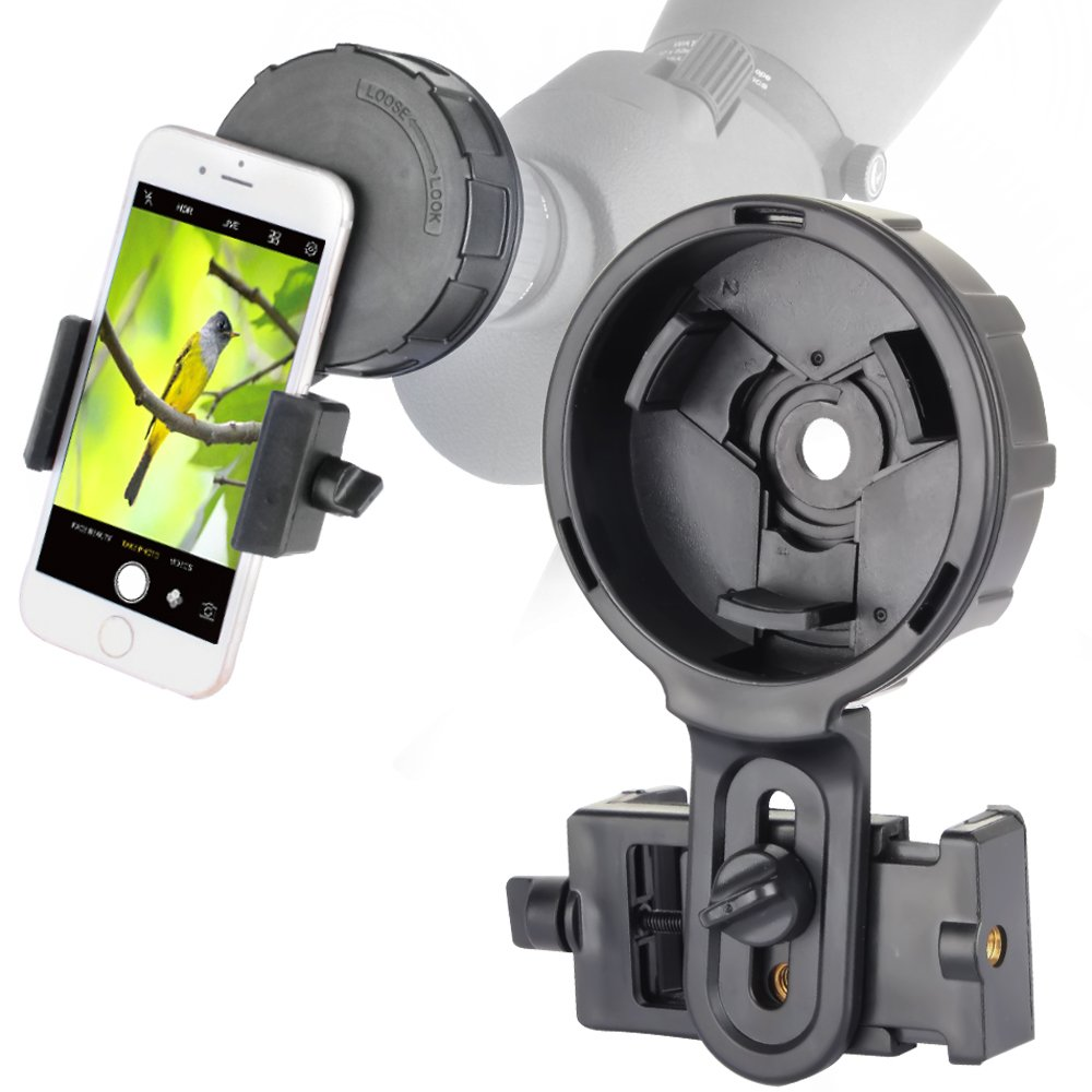 Cell Phone Adapter Mount for Vortex Bushnell Celestron Barska Spotting Scope Big Eyepiece Adapter Mount Work with Binoculars Monocular Spotting Scope Telescope For iPhone 6Plus Samsung HTC LG and More by SOLOMARK
