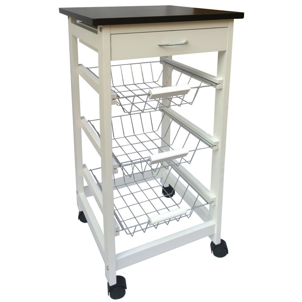 Kitchen Trolley Cart 3 Tier Storage Baskets Drawer White