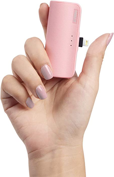 iWALK Mini Portable Charger for iPhone with Built in Cable[Upgraded], 3350mAh Ultra-Compact Power Bank Samll Battery Pack Charger Compatible with iPhone 12/12 Mini 11 Pro/XS Max/XR/8/7 Airpods, Pink