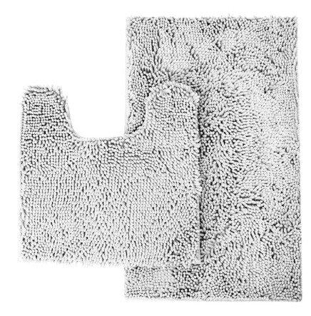 CHESEY Microfiber Non Slip Bathroom Rugs Mat Set - Light Gray Bathroom Rugs