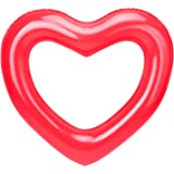 """HeySplash Inflatable Swim Rings, 47.3"""" x 39.4"""" Heart Shaped Swimming Pool Float Loungers Tube, Water Fun Beach Party Toys for Kids, Adults - Red"""