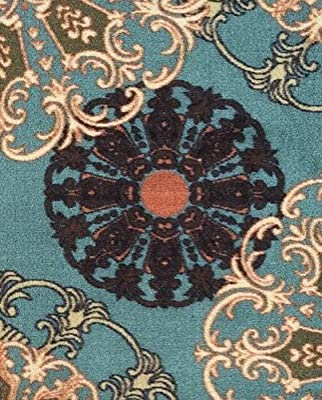 Ottomanson Ottohome Collection/Aqua Blue Damask Design Runner Rug with Non-Skid (Non-Slip) Rubber Backing