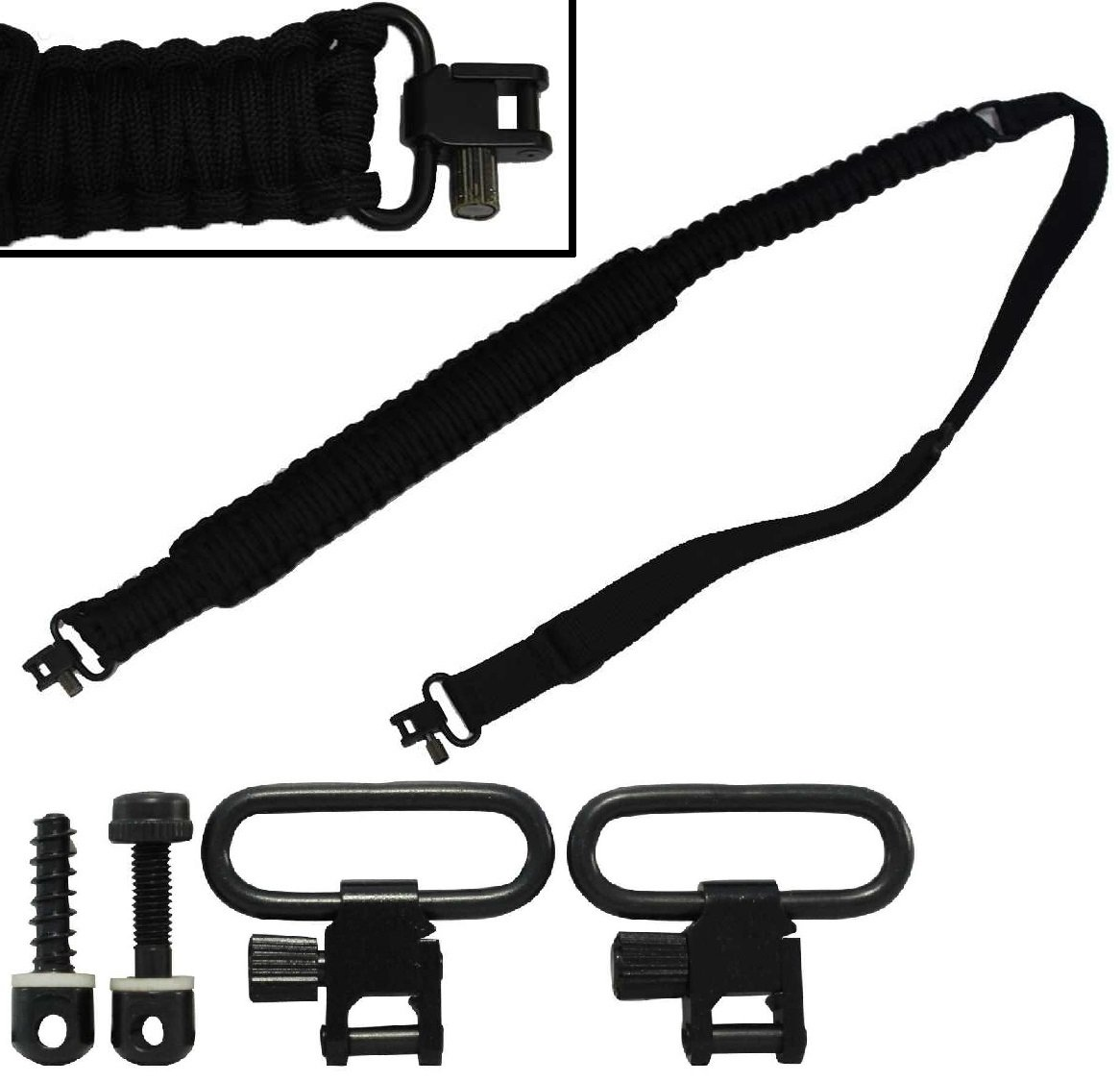 Ultimate Arms Gear Two QD 1'' Slot 7/8'' & 3/4'' Wood Screws for Buttstocks Stud Swivel + 550 lb Paracord Survial Sling, Black 56' ft Cord with Swivel Ends for Remington 870/1187/11-87 12/20 Gauge