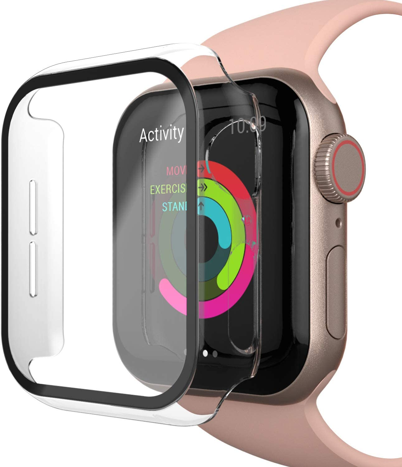 INTLIFE Case Compatible with Apple Watch Series 4/5/6/SE 44mm with Screen Protector, Matte Hard PC Protective Cover with Tempered Glass Screen Protector Accessories for iWatch (Transparent, 44mm)