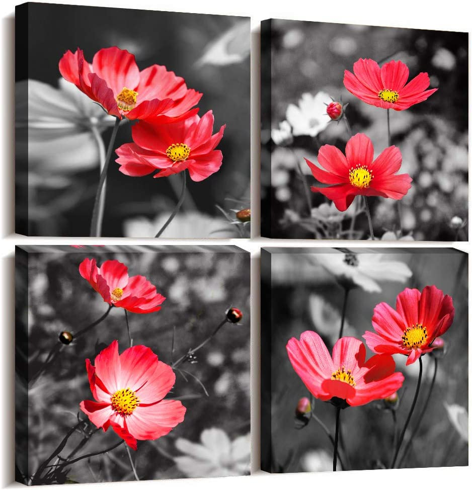 """Wall Art For Living Room Black and White red flower Canvas Wall Decor for Home artwork painting 12"""" x 12"""" 4 Pieces Canvas Print For bedroom Decor Modern Salon kitchen Still Life Hang a picture paintin"""