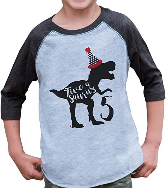 7 ate 9 Apparel Kids Sistersaurus Dinosaur Red Baseball Tee