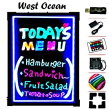 "LED Writing Board Neon Effect Illuminated Erasable Flashing Message Sign Multi-color with remote control 32""X24"""