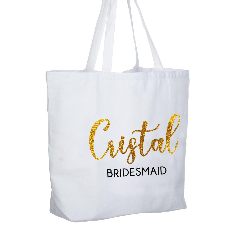 Amazon.com  ElegantPark Maid of Honor Jumbo Tote Bag Wedding Bridesmaid  Gifts White with Gold Glitter 100% Cotton Canvas Interior Pocket  Kitchen    Dining 8507a8cbb1