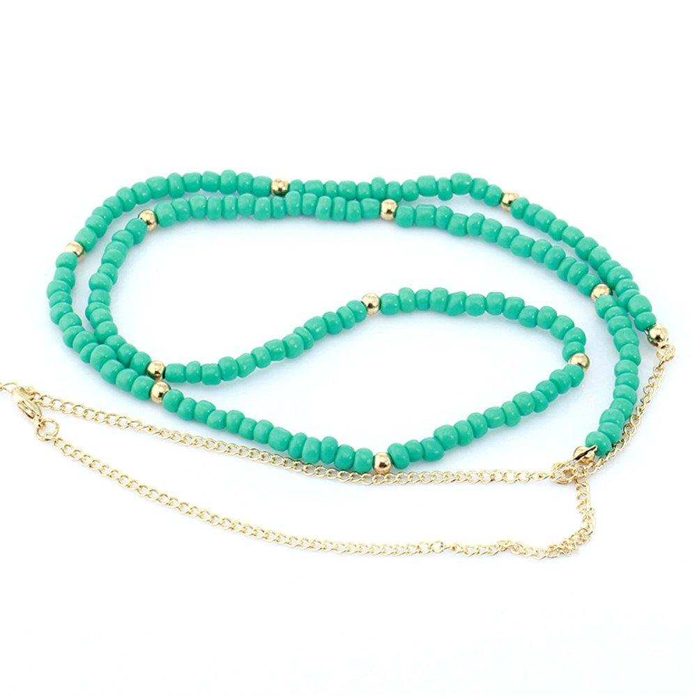 BODYA Fashion Harness Women Bikini Gold Link Beach Crossover green beads waist Belly Body Chain Necklace JW2762