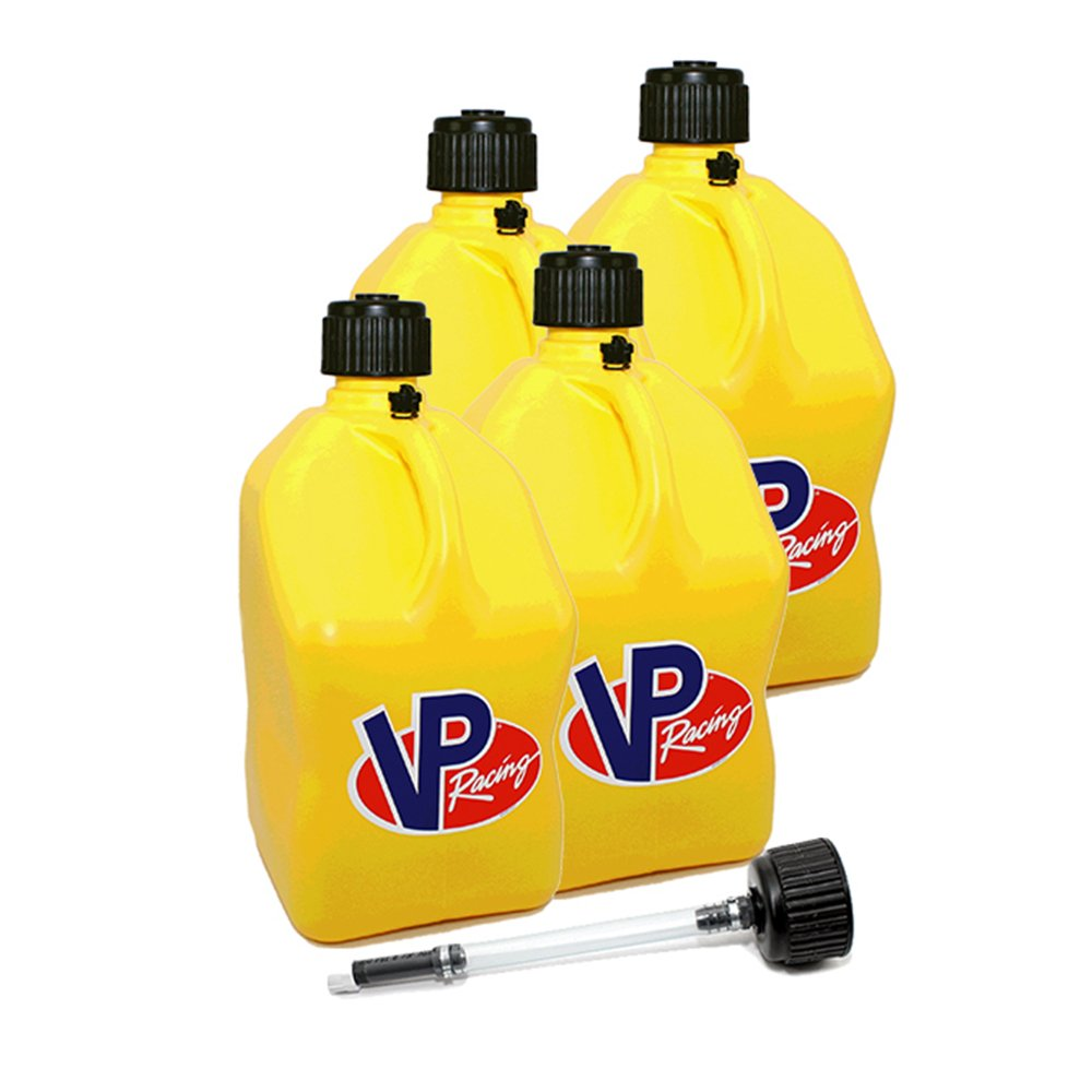 4 Pack VP 5 Gallon Square Yellow Racing Utility Jugs with Extra Cap & Deluxe Filler Hose