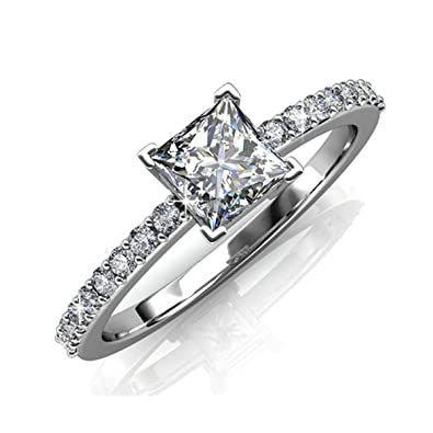 Image Unavailable. Image not available for. Color  FAPPAC Princess  Solitaire Ring Band Enriched with Swarovski Crystals 458da3902