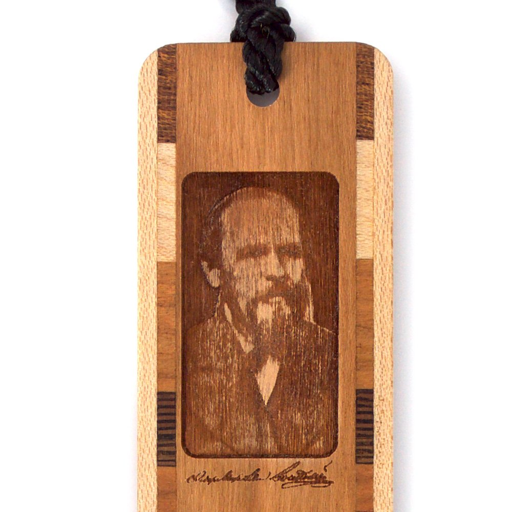 Fyodor Dostoyevsky Author of Crime and Punishment Wooden Bookmark with Black Rope Tassel by Mitercraft (Image #3)