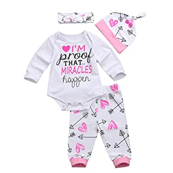 edaf3632d Amazon.com   4PCS Newborn Infant Baby Girl Letter Print Romper Tops+ ...