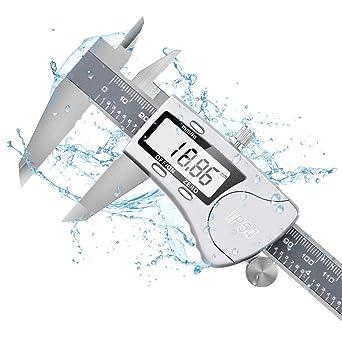 Calibre Digital Inoxidable 0-150mm, Pie de Rey Digital Profesional, Pantalla Electrónica LCD de Acero Inoxidable, Impermeable IP54, ± 0.03mm Gran ...