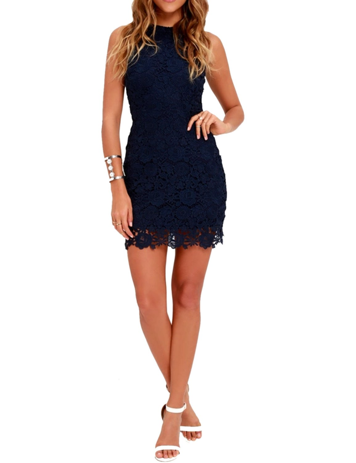 Lamilus Women's Casual Sleeveless Halter Neck Party Lace Mini Dress,Navy Blue,Small by Lamilus (Image #2)