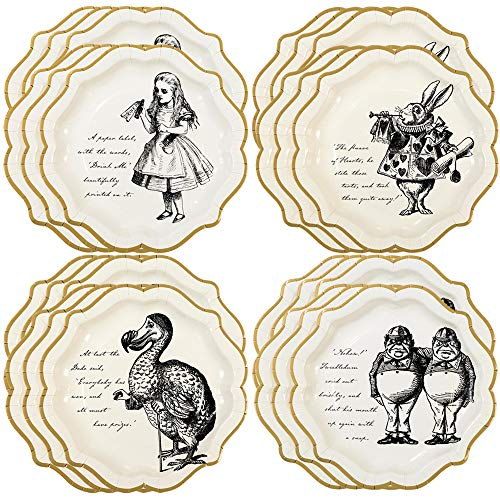 Talking Tables Truly Alice 9 Alice in Wonderland Mad Hatter Party Paper Plates with Gold Trim for a Tea Party or Birthday, Cream/Gold (24 Pack)