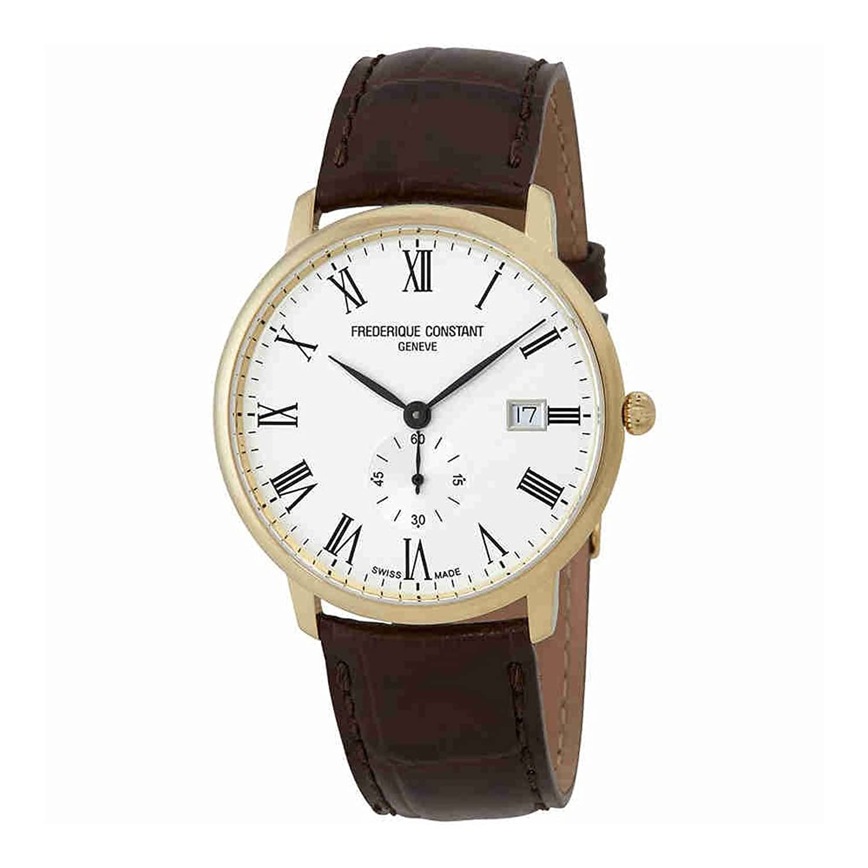Frederique Constant メンズ 本革ベルト腕時計 スリムライン イエローゴールド FC245WR5S5 B06XKMNSWC
