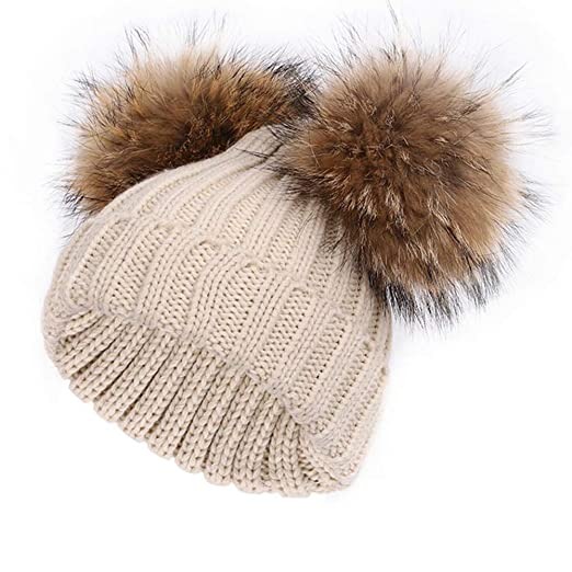 76fde27aae37 Amazon.com  Kids Winter Fur Pompom Hat Toddler Raccoon Fur Double Ball Warm Knitted  Beanies Bobble Ski Caps  Clothing