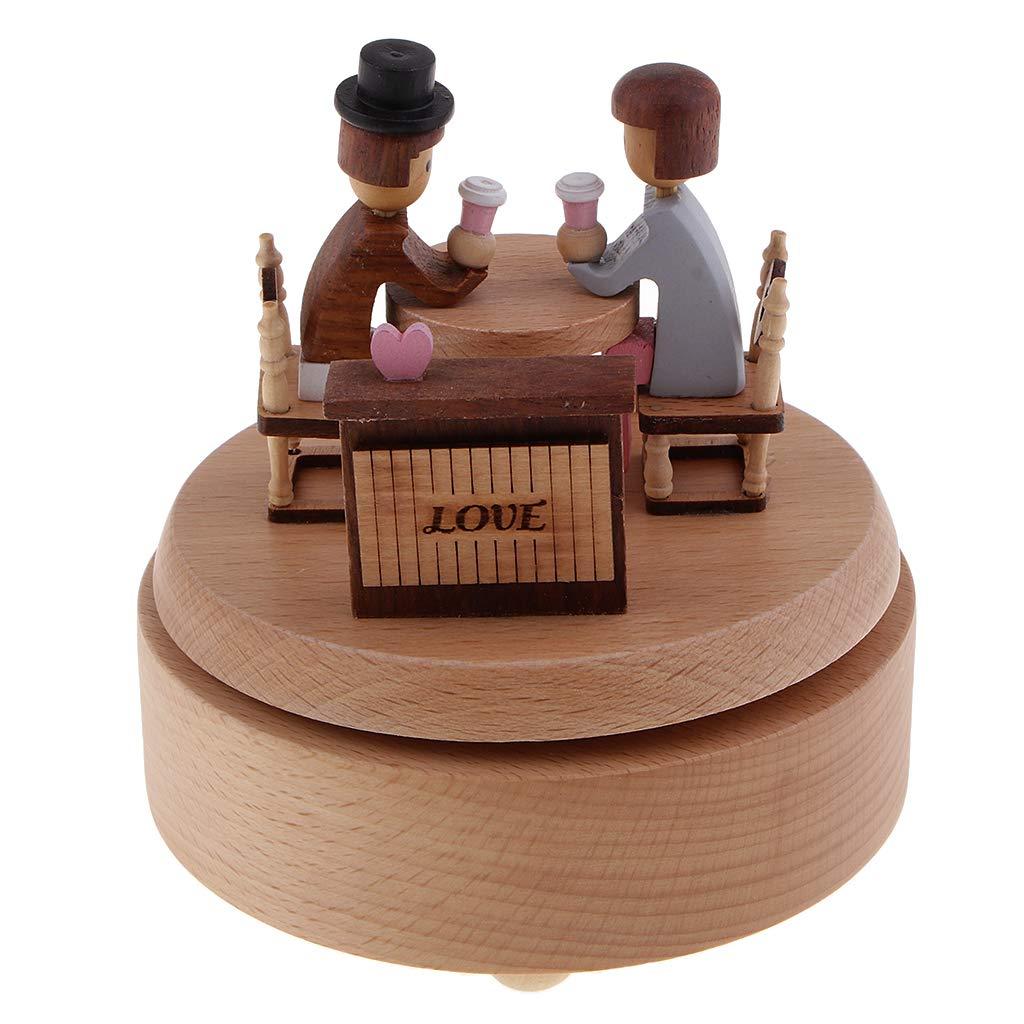 Regalo per Fidanzata Homyl Music Box in Legno Sweet Lovers Sposo E Fidanzata