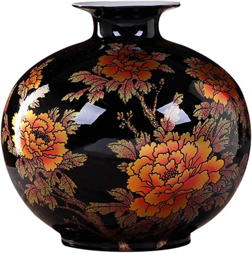 ECYC Tabletop Ceramic Vase Handmade Shining Famille Rose Vases Black Porcelain Crystal Glaze Flower Vases Home Decor