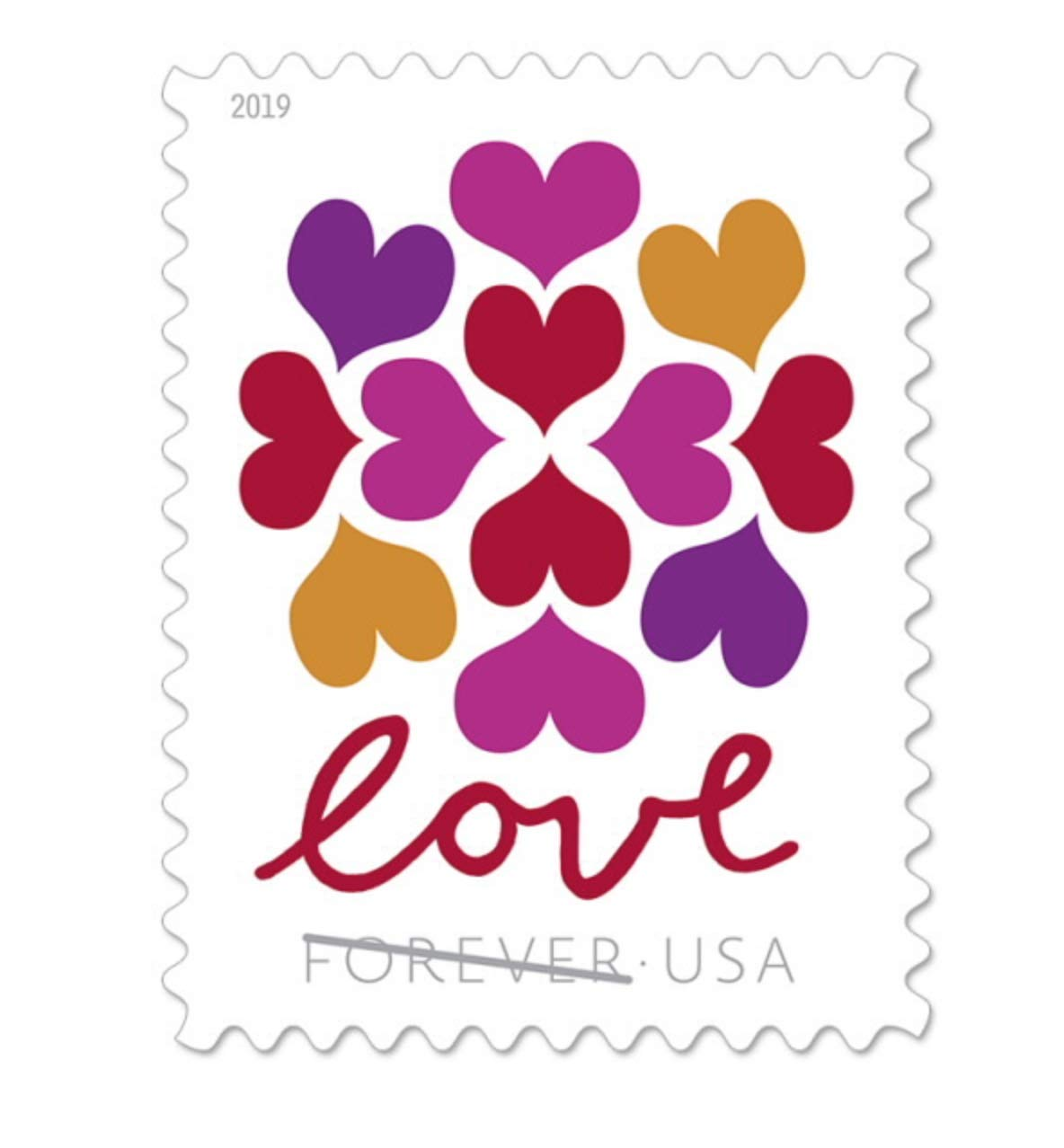 USPS Hearts Blossom Love Forever Stamps 2019 (1 Sheet of 20 Stamps)