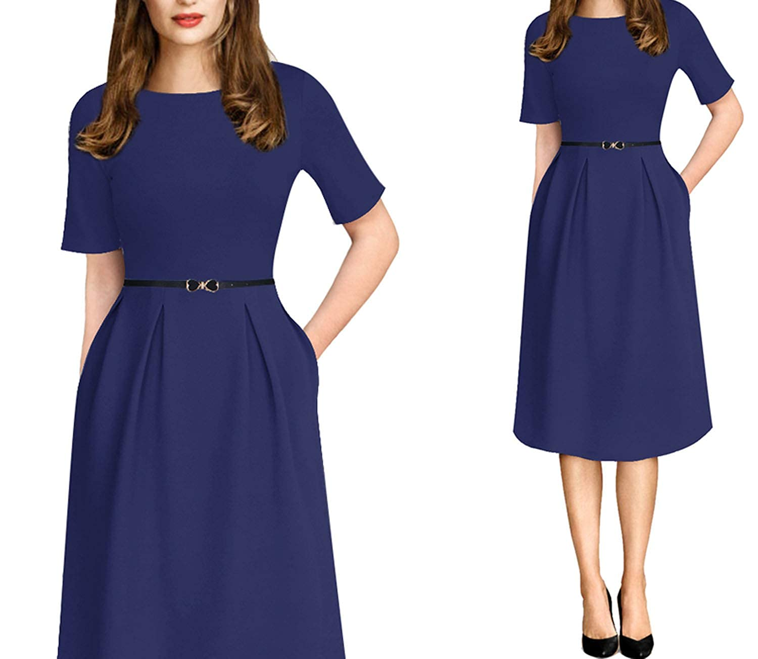 bluee 1 Womens Elegant Vintage Summer Print Belted Patchwork Casual Party A Line Dress