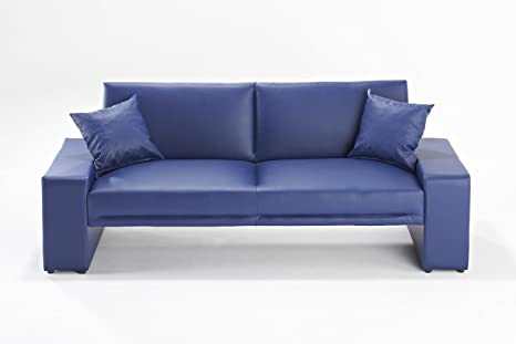 Sofá cama Supra en todos los colores, de piel sintética, 2 plazas, piel sintética madera, azul, Dos asientos