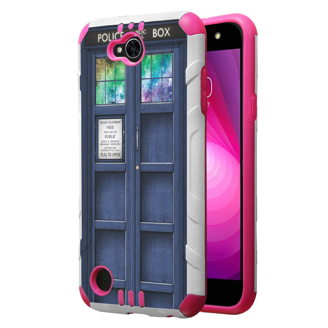 Capsule Case Compatible with LG Fiesta 2 (L163BL), LG X Power 2 (M320), LG X Charge (M322), Fiesta LTE, K10 Power, LS7 4G LTE [Dual Layer Slim Armor Case White Pink] - (Blue Phone Booth)