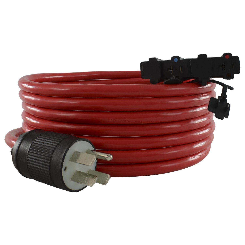 Conntek 25F1450611 50 Amp NEMA 14-50P, 25-Feet, 125/250-volt RV/Generator Plug to U.S. 15/20 Amp Female Connectors