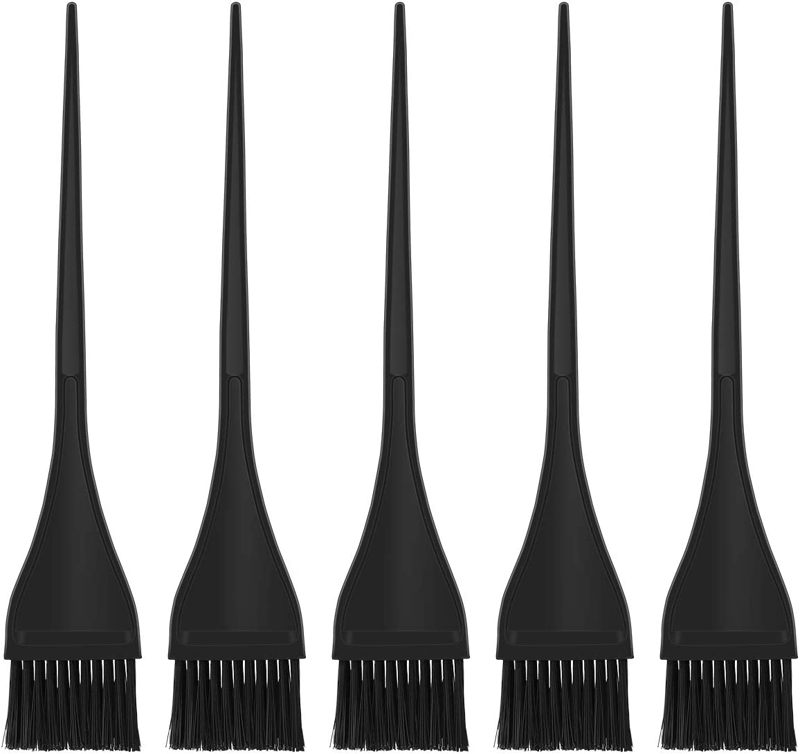 Pixnor 5 Pack Hair Dye Brushes,Handle Hair Coloring Dyeing Brush Highlight Brush Color Tint Applicator for Salon Home Use,Black: Health & Personal Care