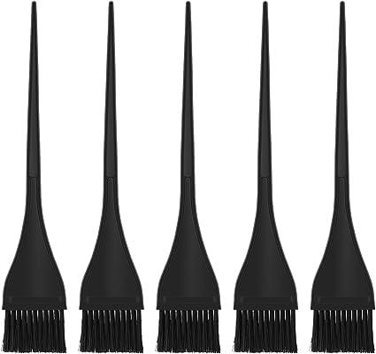 LURROSE - 5 pinceles de tinte de silicona, para peluquería, color negro