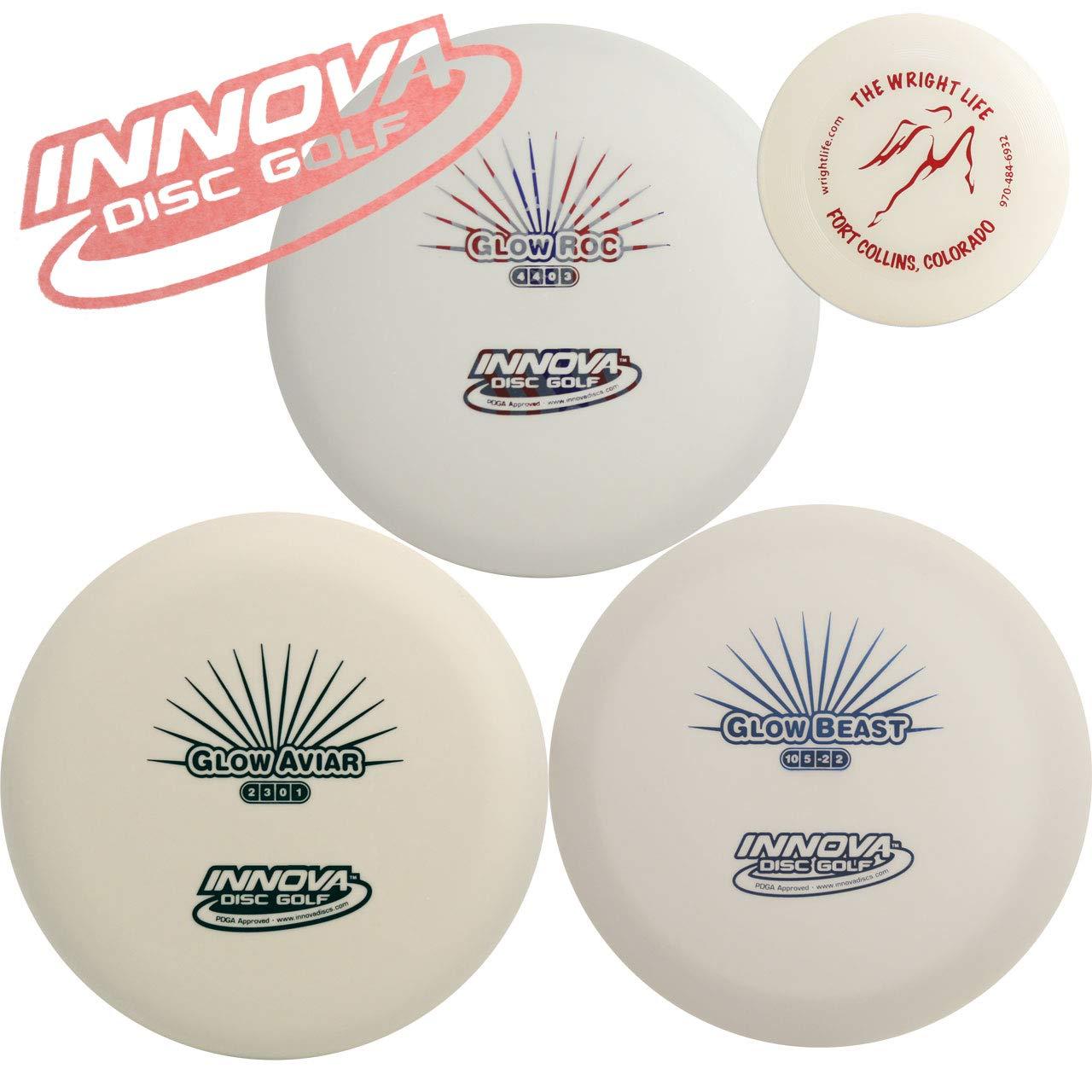 Innova Glow Disc Golf Gift Set Bundle - 3 Glowing Discs Pack (Glows in The Dark) + Mini Marker Disc, Sticker