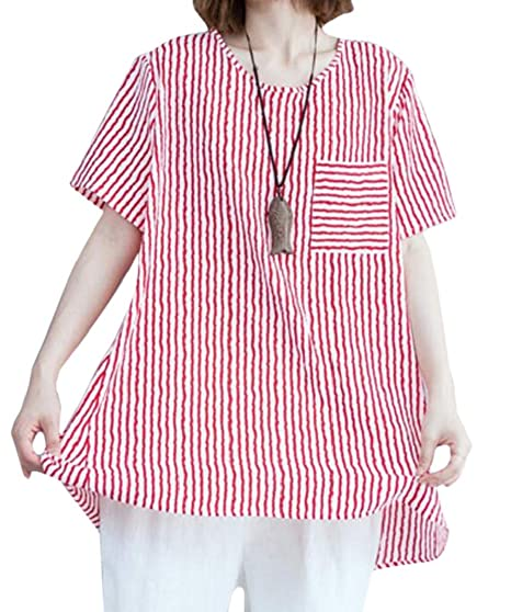 ad80a37f0f0f JXG Women Oversized Striped Pocket Button up Short Sleeve Blouse Tops one  OS at Amazon Women's Clothing store: