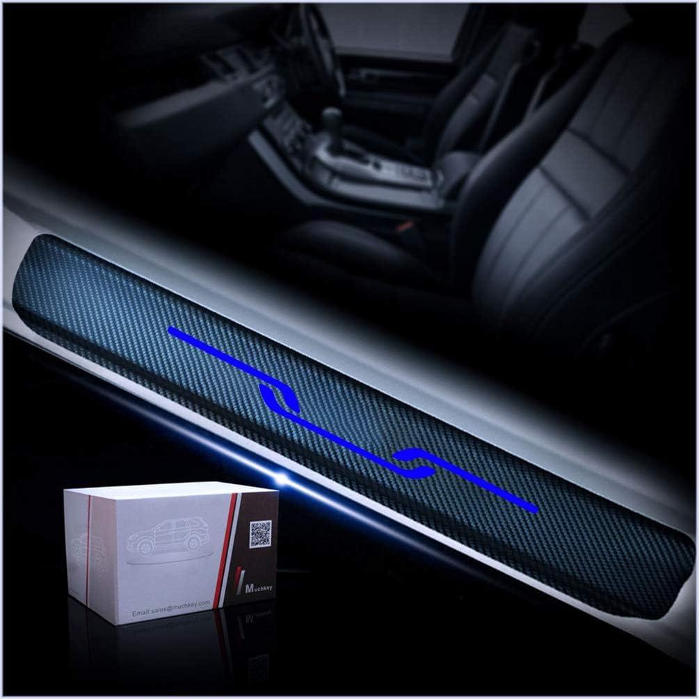 4D Carbon Fiber Car Door Sill Protector Scuff Plate Guard Stickers for Toyota Yaris Corolla Camry RAV4 Highlander Avalon Prius Mirai Sienna Tacoma Tundra 4-Runner Sequoia Land Cruiser 4Pcs Red